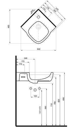 wymiary techniczne umywalki narożnej Koło Style -image_Koło_L21750000_2