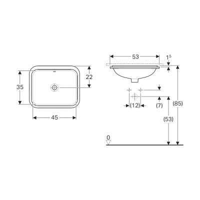 Rysunek techniczny prostokątnej umywalki podblatowej Variform 500760016-image_Koło_500.760.01.6_4