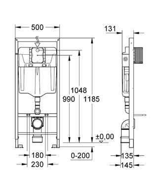 Wymiary techniczne stelaża podtynkowego do wc Grohe Rapid 5w1 39448000