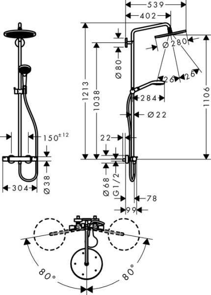 Rysunek techniczny kompletu prysznicowego Hansgrohe 26790000