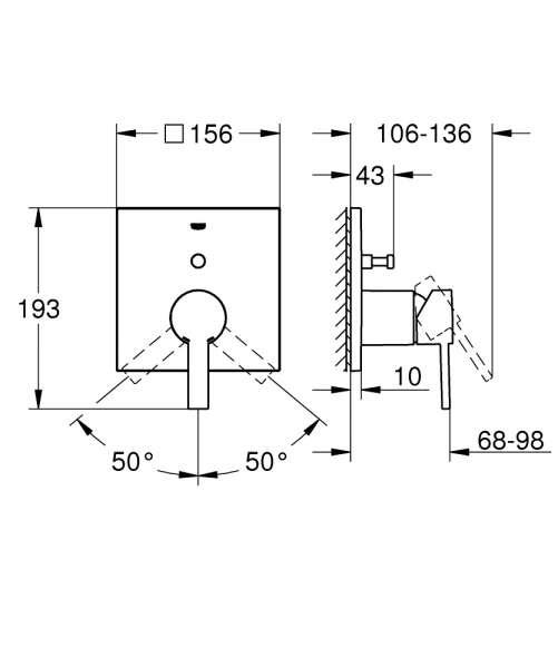 Wymiary techniczne baterii grohe Allure 24070000-image_Grohe_24070000_2