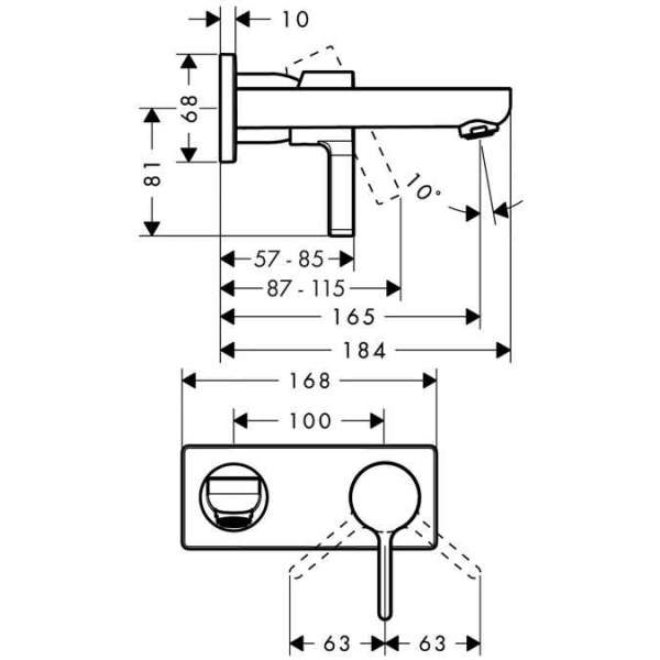 Wymiary techniczne baterii umywalkowej Metris S Hansgrohe 31162000-image_Hansgrohe_31162000_4