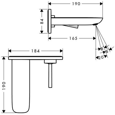 Wymiary techniczne baterii umywalkowej Hansgrohe PuraVida 15084000-image_Hansgrohe_15084000_4