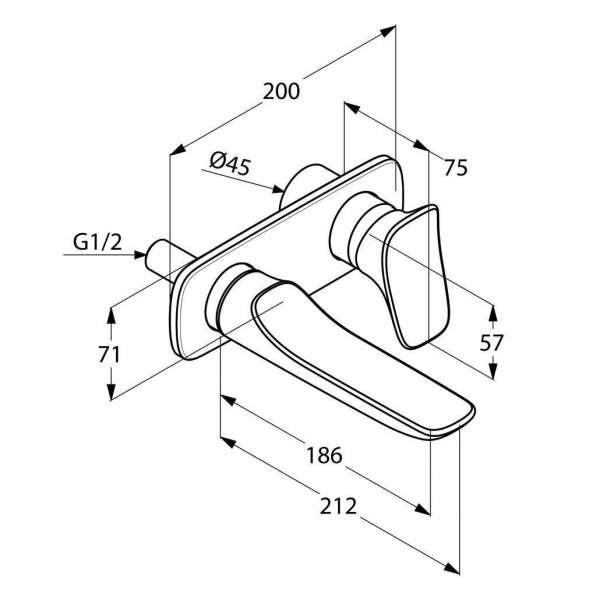 Rysunek techniczny baterii umywalkowej podtynkowej Kludi Ambienta 532440575 -image_Kludi_532440575_3