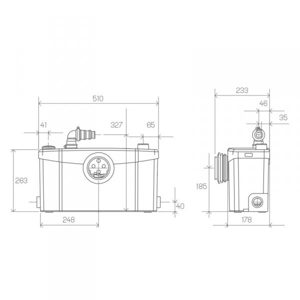 Wymiary techniczne pompy z rozdrabniaczem SFA Saniplus -image_SFA_SFA SANIPLUS_2