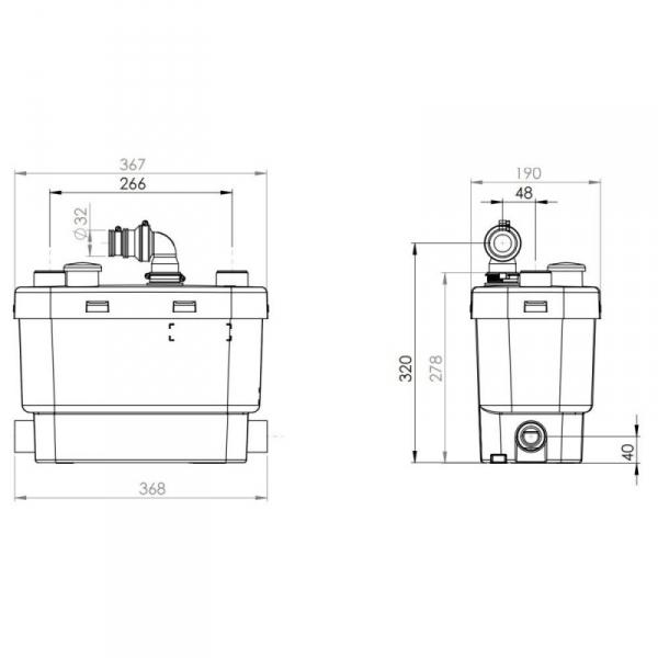 Wymiary techniczne pompy SFA Sanivite Silince -image_SFA_SFA SANIVITE_4