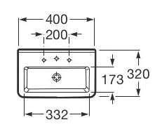 Rysunek techniczny umywalki Roca Dama-N Compacto A32778A000-image_Roca_A32778A000_3