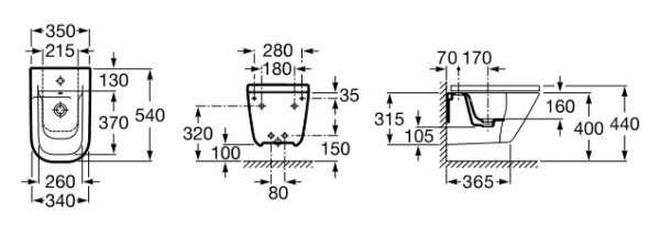 Wymiary techniczne bidetu podwieszanego Roca Gap A357475000-image_Roca_A357475000_3