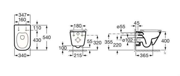 Wymiary techniczne bezkołnierzowej miski wiszącej do wc Roca Gap A34647L000 Rimless-image_Roca_A34647L000_4