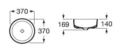 Wymiary techniczne umywalki Roca Inspira Round-image_Roca_A327523000_5