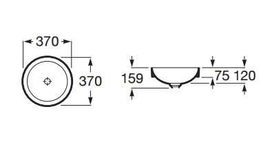 Wymiary techniczne umywalki Roca Inspira Round-image_Roca_A32752R000_3
