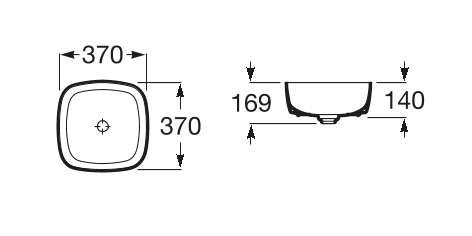 Wymiary techniczne umywalki nablatowej Inspira Soft Maxiclean -image_Roca_A32750200M_2