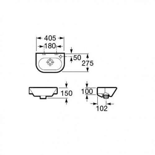 Wymiary techniczne umywalki Roca Nexo A327645000-image_Roca_A327645000_3