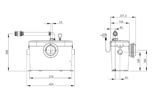 Wymiary techniczne pomporozdrabniacza SFA Saniaccess 2-image_SFA_SFA SANIACCESS 2_3