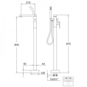 Rysunek techniczny kolumny wannowej Steinberg 160 1601163-image_Steinberg_1601163_2