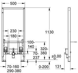 Wymiary techniczne stelażu podtynkowego Grohe Rapid 38553001-image_Grohe_38553001_4