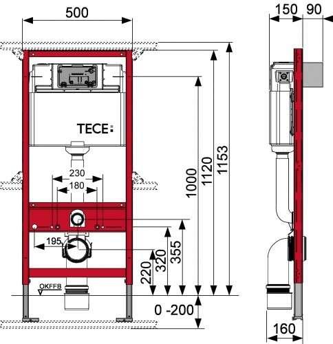Rysunek techniczny stelaża podtynkowego do wc Tece profil 9.300.000-image_Tece_9.300.000_3