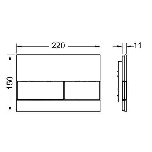 Rysunek techniczny przycisku spłukującego Tece Square 9.240.806-image_Tece_9.240.806_4