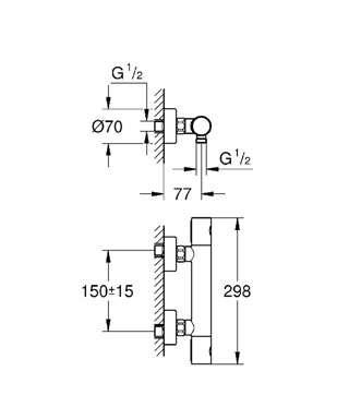 Bateria prysznicowa termostatyczna grohtherm 1000 for Grohtherm cosmopolitan 1000