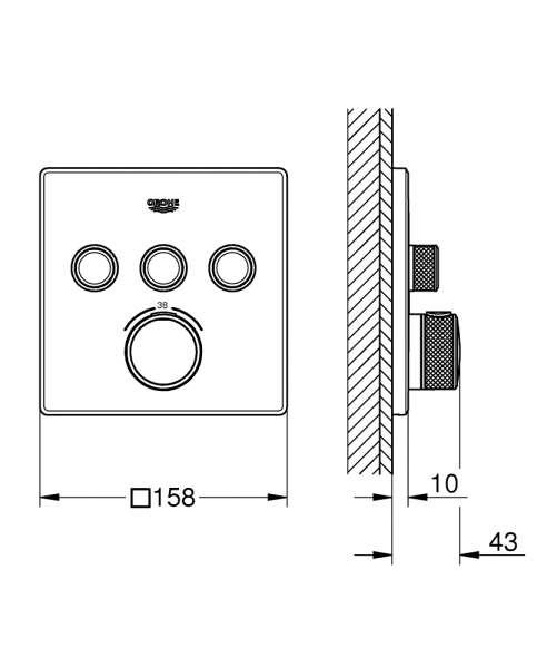 Wymiary techniczne termostatu podtynkowego Grohe Grohtherm SmartControl 29126000-image_Grohe_29126000_3