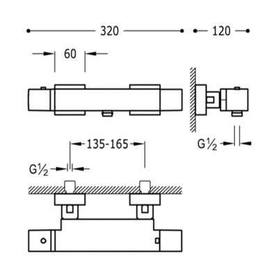 Wymiary techniczne baterii termostatycznej 202.174.09.NM -image_Tres baterie do kuchni i łazienki_202.174.09.NM_4