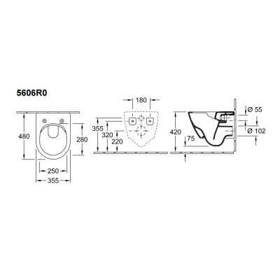 Rysunek techniczny miski wiszącej Subway 2.0 5606R0R1-image_Villeroy&Boch_5606R0R1_3