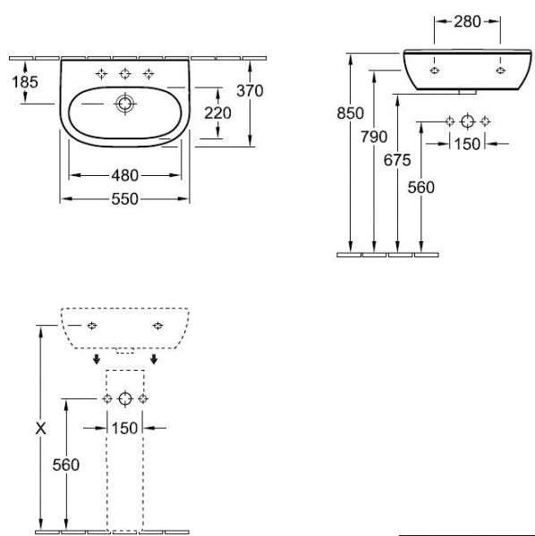 Rysunek techniczny O.Novo 51665501-image_Villeroy&Boch_51665501_3