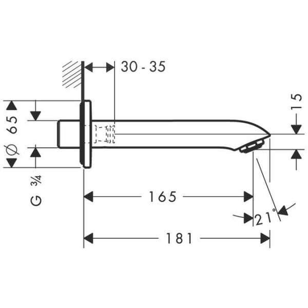 Wymiary techniczne wylewki wannowej Hansgrohe Metris E2 31494000-image_Hansgrohe_31494000_3