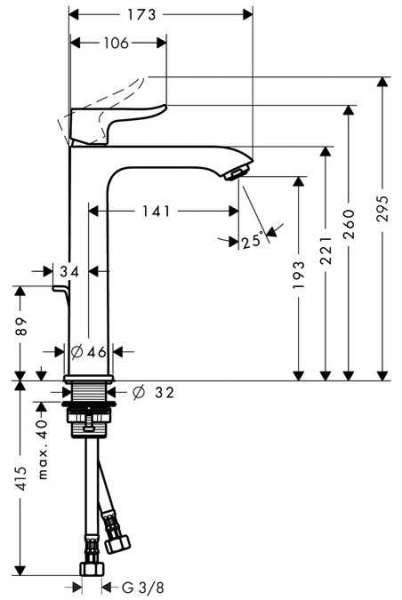 Wymiary techniczne wysokiej baterii umywalkowej Hansgrohe Metris 200 31183000 -image_Hansgrohe_31183000_6