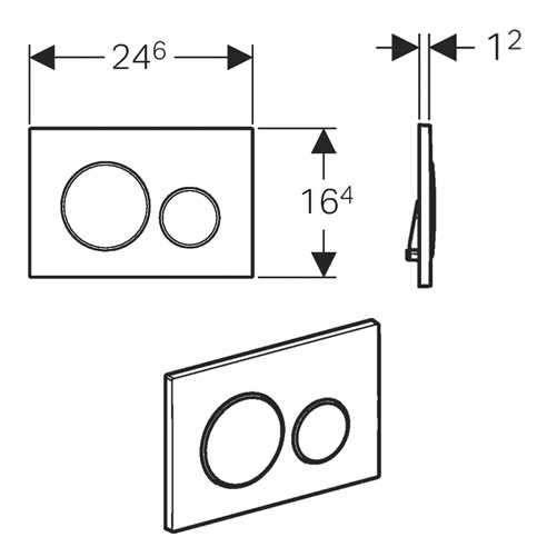 Wymiary techniczne klapki spłukującej do stelażą -image_Geberit / Villeroy Boch_UP320/AVENTO/S20KJ_3