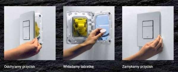 Zobrazowane działanie kostkarki w zestawie podtynkowym Grohe Rapid SL 5w1 38827000