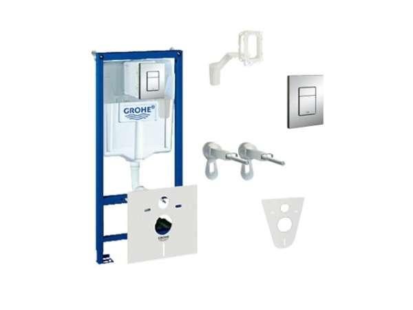Pakiet podtynkowy do wc 5w1 - stelaż podtynkowy Grohe Rapid, wsporniki montażowe, przekładka, kostkarka i przycisk.