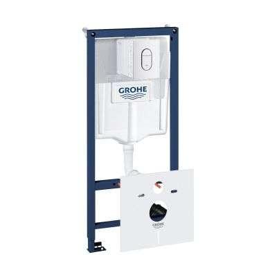 Spłuczka podtynkowa do wc Grohe Rapid 5w1. W komplecie stelaż podtynkowy do wc, przycisk spłukujący Arena Cosmopolitan, wsporniki montażowe, przekładka akustyczna.-image_Grohe_39450000_1