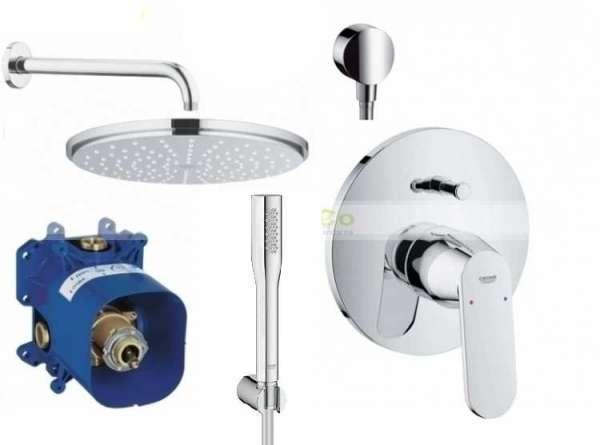 Kompletny zestaw podtynkowy do prysznica Grohe Eurosmart Cosmopolitan, zestaw z dużą deszczownicą 210mm.