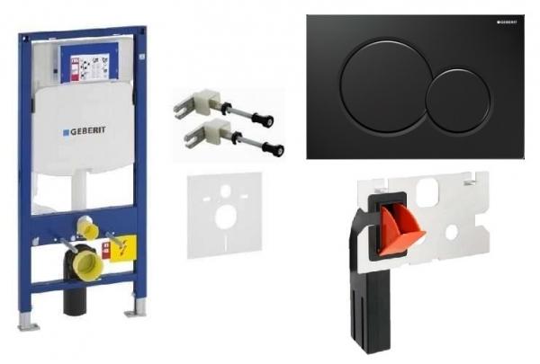 Geberit Duofix UP320 w zestawie z przyciskiem Sigma01 w kolorze czarnym oraz kostkarka higieniczną.-image_Hansgrohe_14244000_1