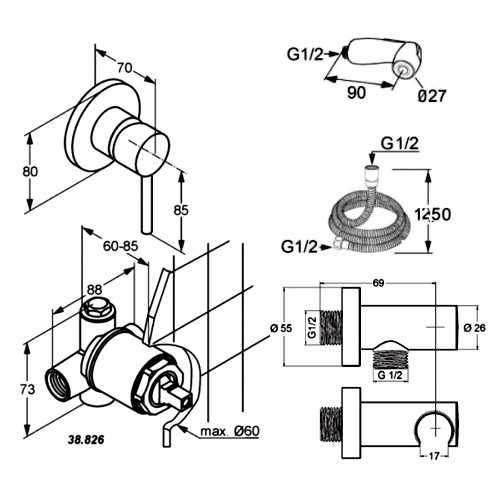 Rysunek techniczny zestawu higieniecznego podtynkowego - komplet Kludi Bozz 389990576