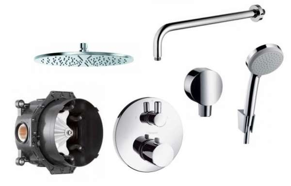 Kompletny system podtynkowy do prysznica z bateria termostatyczną Hansgrohe Ecostat i deszczownicą ścienną Kludi 30cm-image_Hansgrohe_15721000_1