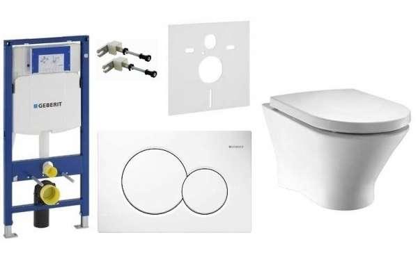 Geberit UP320 stelaż podtynkowy do wc z miską Roca Nexo + przycisk Sigma 01 biała i deskaw wolnoopadająca Toscana