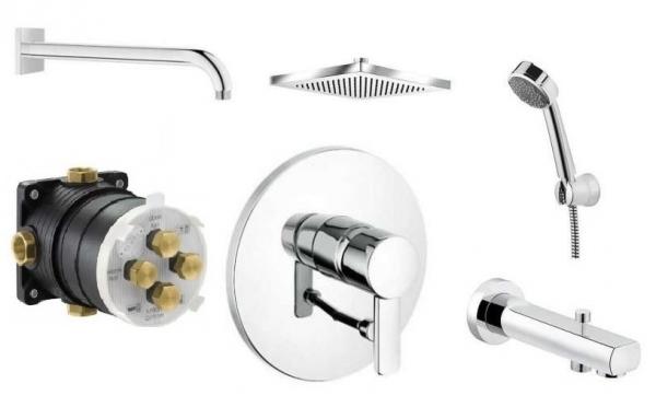 Kludi Zenta podtynkowy zestaw prysznicowy z kwadratową deszczownicą oraz słuchawką i wylewką wannową z przełącznikiem.-image_Kludi_1350105_1