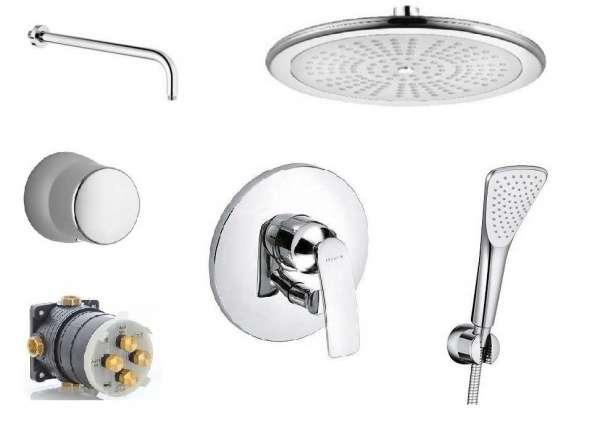 Podtynkowy zestaw prysznicowy Kludi Balance Fresh z dużą okrągłą deszczownicą.