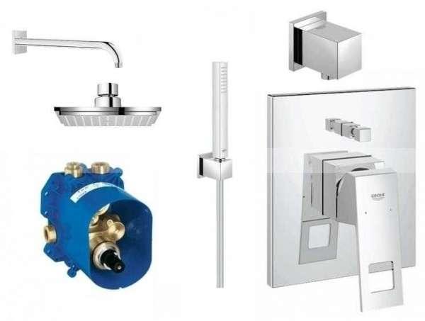 Grohe Eurocube kompletny zestaw podtynkowej baterii prysznicowej z kwadratową deszczownicą i ściennym ramieniem 117657-image_Grohe_117657_1