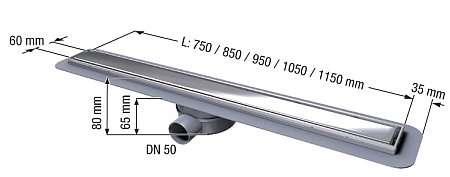 Wymiary techniczne odpływów liniowego Kessel Linearis Compact